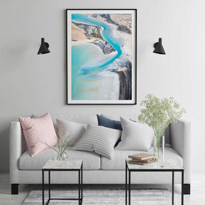 Pastel print and wall art in frame with modern living room