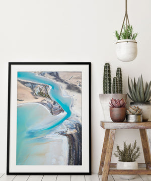 Pastel abstract photographic print and wall art in frame with modern living room