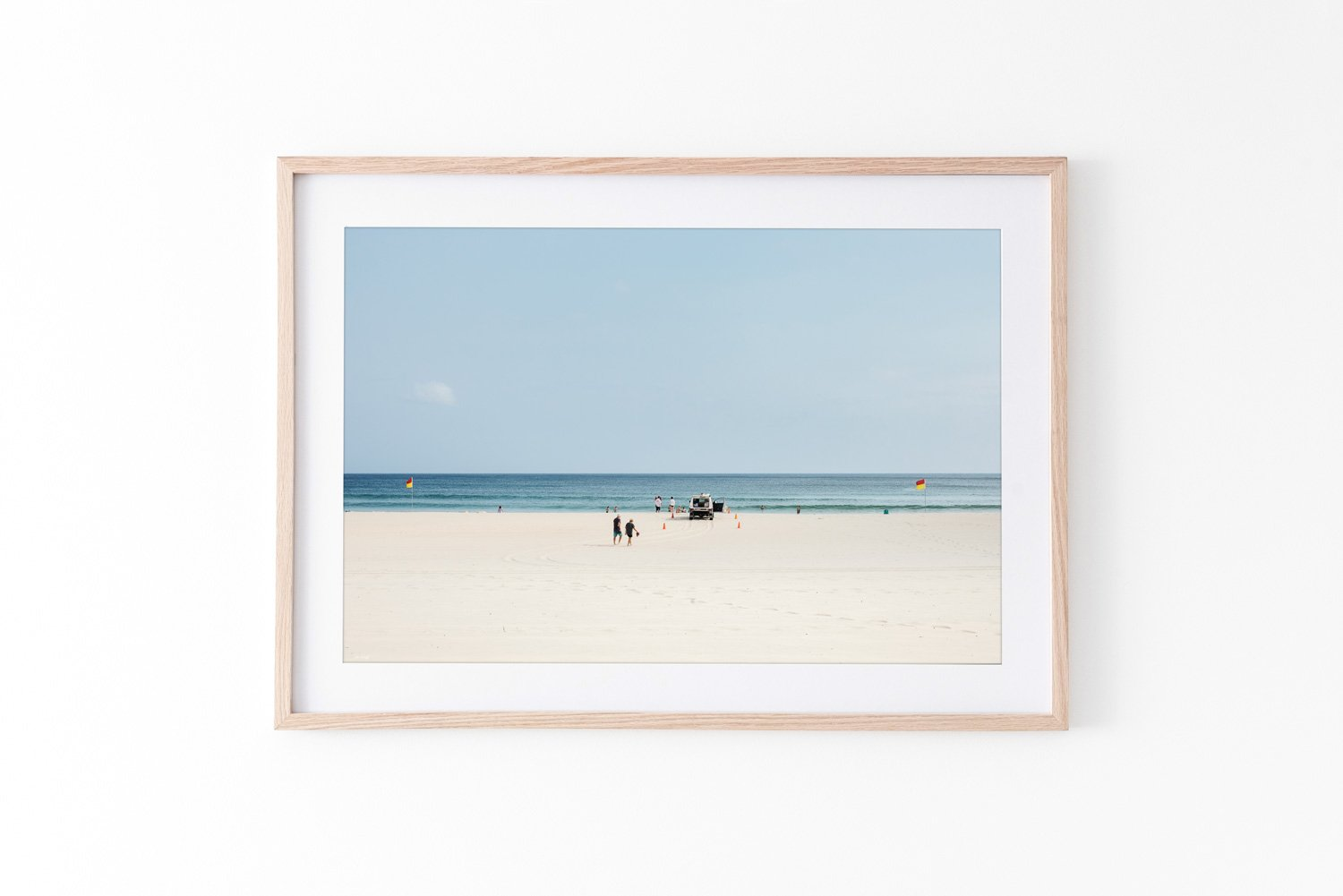 Beach Print Oak Frame