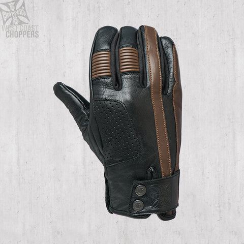 Grunge riding glove tobacco/black