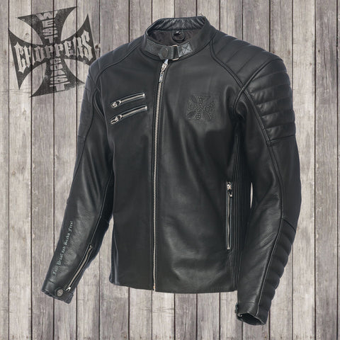 Raptor leather riding jacket black