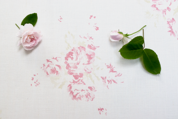 'Camille' - Antique Rose on Oyster Linen