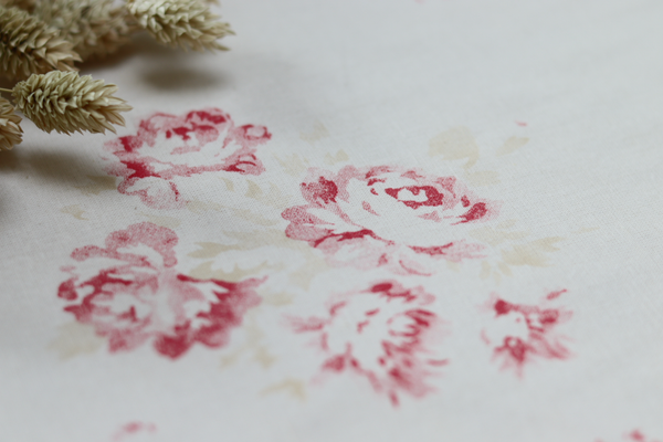 'Camille' - Cerise & Fawn on 'Antique' Cotton