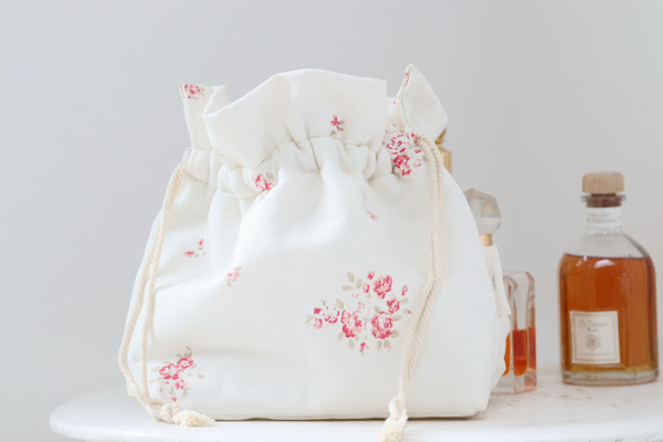 'Petite Fleur' luxury make-up bag on Oyster Linen