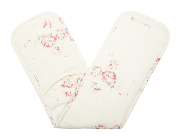 'Camille' - Cerise & Fawn oven gloves on Oyster Linen