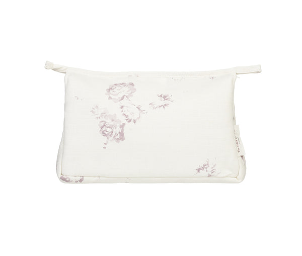 'Camille' - Vintage Lilac make-up bag on Oyster Linen