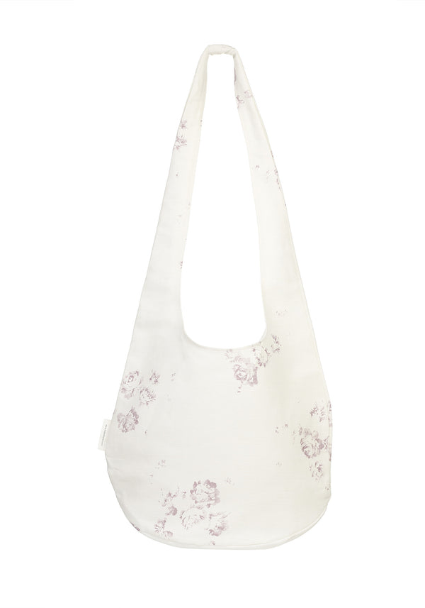 'Camille' - Vintage Lilac boho beach bag on Oyster Linen