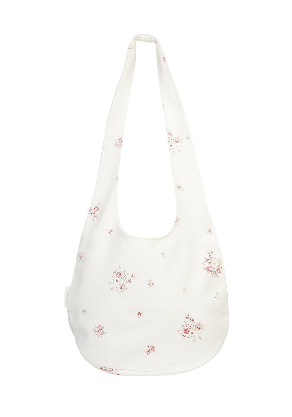'Petite Fleur' boho beach bag on Oyster Linen