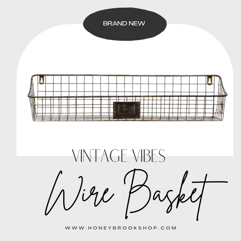 Metal Wire Wall Basket, Distressed Zinc Finish