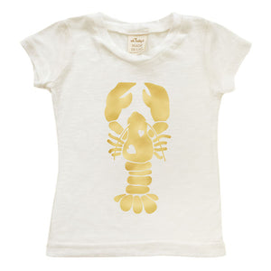 oh baby! Short Sleeve Bamboo Slub Top - Lobster - Ivory/Gold