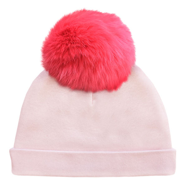 oh baby! Hat - Fur Pom - Pale Pink/Coral