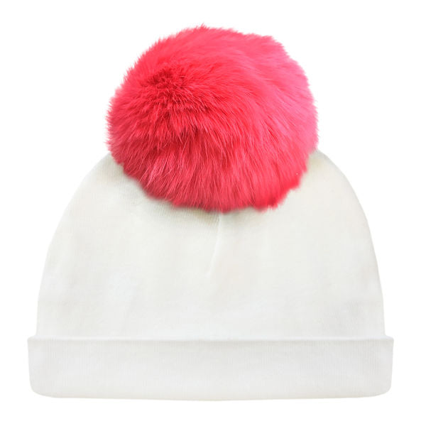 oh baby! Hat - Fur Pom -Coral - Cream