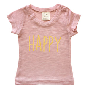 "oh baby! Short Sleeve Bamboo Slub Top - ""Happy"" in Gold Foil - Dusty Pink"