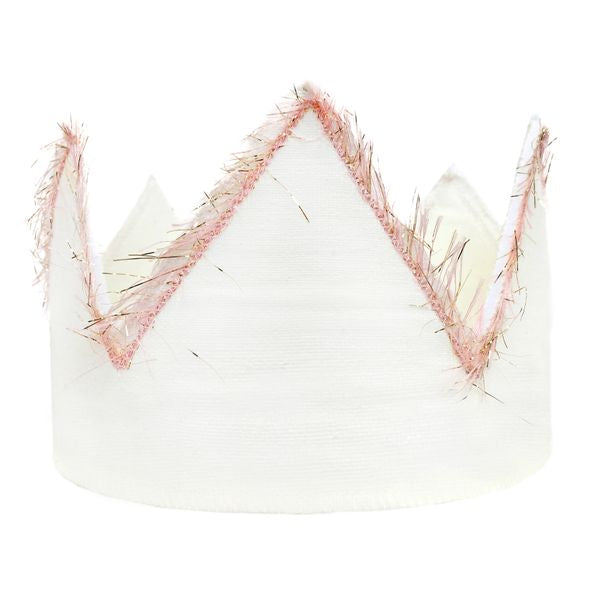 oh baby! Linen Crown with Pink/Gold Trim - Infant