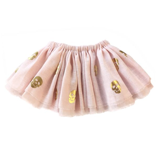 oh baby! Fairy Skirt - Printed All Over Skulls Gold Foil - Pale Pink