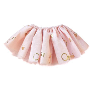 oh baby! Fairy Skirt - Printed All Over Diamonds Gold Foil - Pale Pink