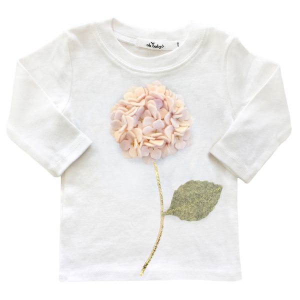 oh baby! Long Sleeve Tee - Paris Pink Hydrangea - Cream
