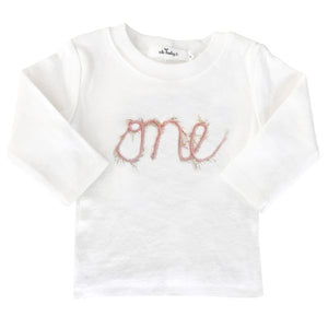 "oh baby! Long Sleeve Top ""one"" in Yarn - Pink/Gold - oh baby!"
