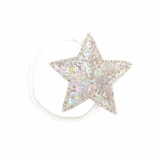 oh baby! Iridescent Sequin Star Nylon Headband - White