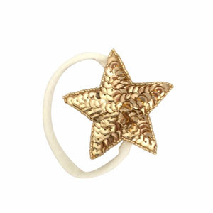 oh baby! Gold Sequin Star Nylon Headband - Cream