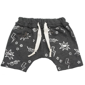 oh baby! Brooklyn Mini Jogger Shorts - All Over Pow Print