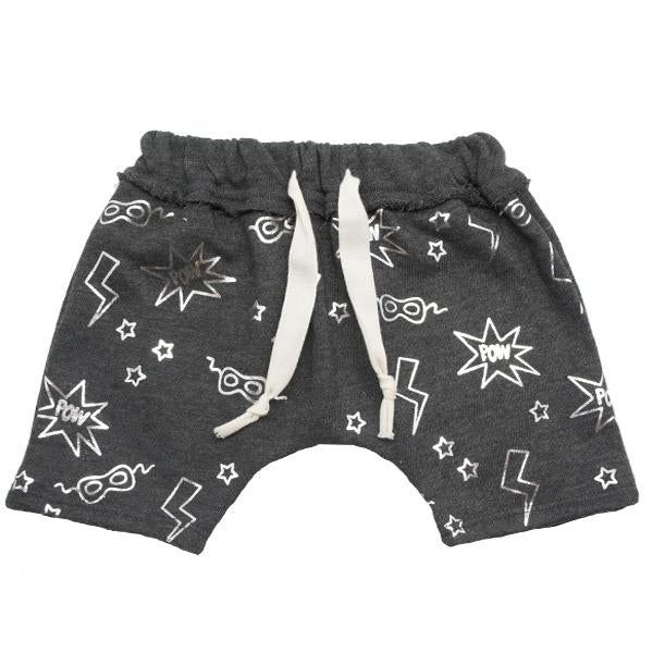 oh baby! Brooklyn Mini Jogger Shorts - All Over Pow Print Silver Foil - Charcoal - oh baby!