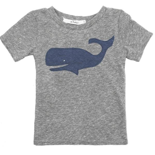 Navy Whale Short Sleeve James Dean T-Shirt by oh baby!