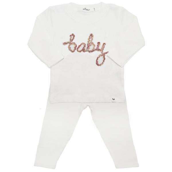 oh baby! Two Piece Set - Baby in Desert Rose Yarn - Cream