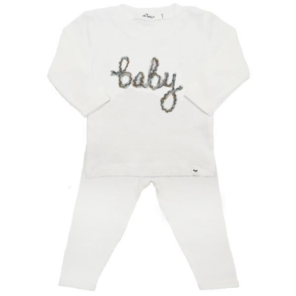 oh baby! Two Piece Set - Baby in Rocky Road Yarn - Cream