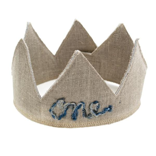 "oh baby! Birthday Linen Crown - ""One"" Multi Blue Yarn - Oatmeal"