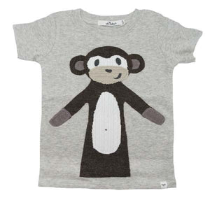 oh baby! Brown Monkey Short Sleeve Baby Rib Top - Oatmeal Heather