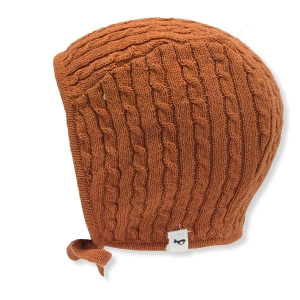 oh baby! Cable Knit Pilot Cap - Rust