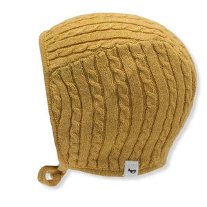 oh baby! Cable Knit Pilot Cap - Mustard