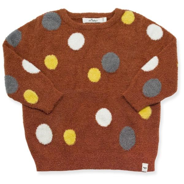 oh baby! Fuzzy Knit Spotted Brooklyn Boxy Sweater, Infant, Rust