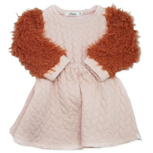 oh baby! Brooklyn Boxy Quilted Cable Dress with Rust Llama Sleeves, Pale Pink