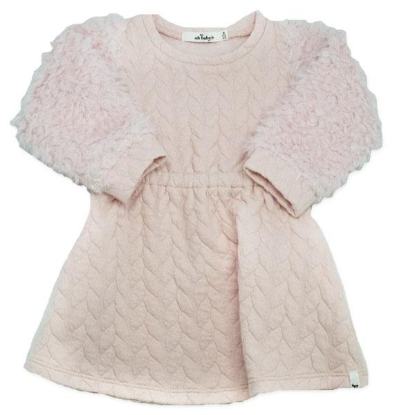 oh baby! Brooklyn Boxy Quilted Cable Dress with Pale Pink Llama Sleeves, Pale Pink