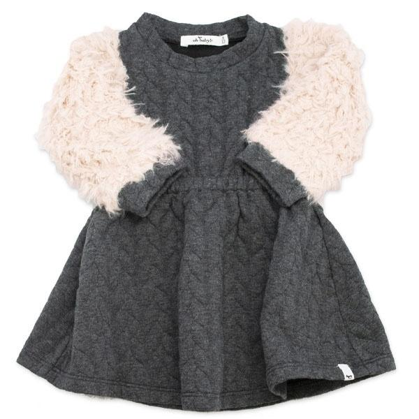 oh baby! Brooklyn Boxy Quilted Cable Dress with Oat Llama Sleeves, Charcoal