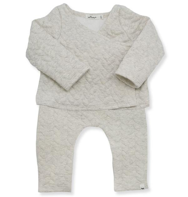 Quilted Cable Kimono Jogger Set - Oatmeal