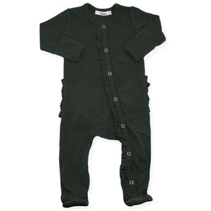 Wind and Willow Ruffle Footie Onesie Baby Rib - Forest