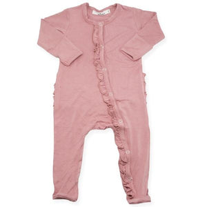 oh baby! Ruffle Footie Onesie Bamboo - Rose