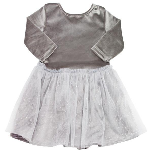 oh baby! Ballet Velvet Dress, Silver With Silver