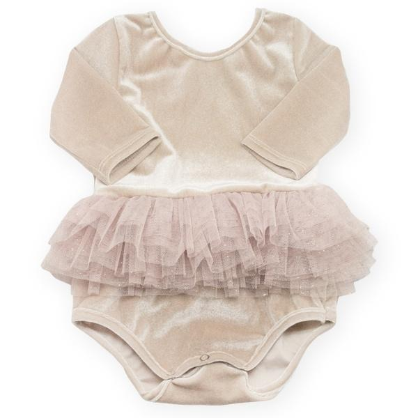 oh baby! Ballet Velvet Snap Leotard, Infant, Champagne with Champagne Gold Skirt