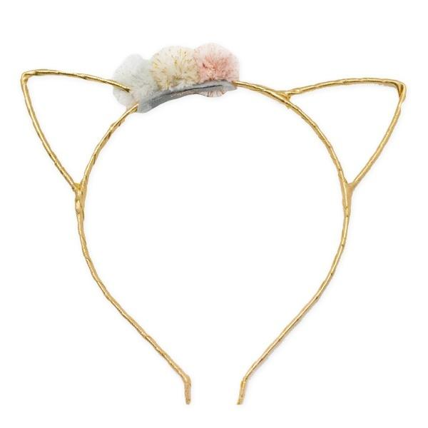 oh baby! Gold Kitty Headband with Stardust Rose Gold Mini Poms