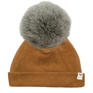 oh baby! Snap Fur Pom Hat Natural Gray - Rust