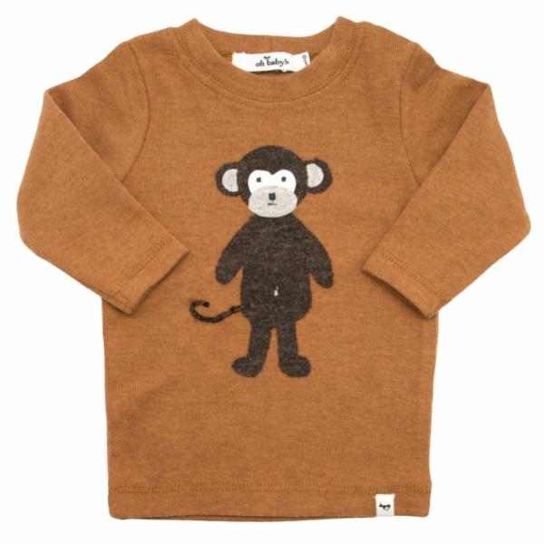 oh baby! Long Sleeve Top - Ragdoll Monkey - Rust