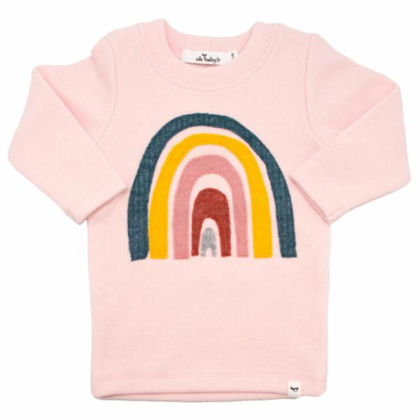 oh baby! Rainbow Long Sleeve Tee - Brushed Pale Pink