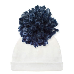 oh baby! Hat - Yarn Pom - Navy on Cream