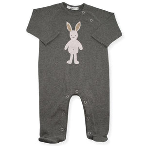 oh baby! Onesie Footie with Stardust Pale Pink Bunny - Charcoal