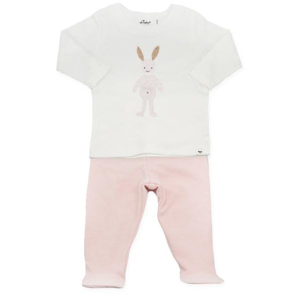 oh baby! Two Piece Footie Set - Ragdoll Bunny in Pale Pink - Brushed Pale Pink