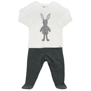 oh baby! Two Piece Jersey Footie Set - Ragdoll Bunny in Gray - Charcoal